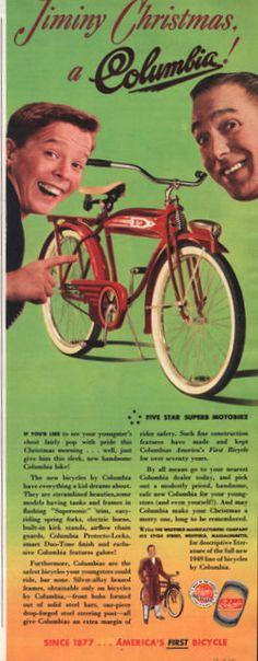 1948 Columbia Five Star superb Motobike bicycle print by Vividiom, $8.00