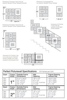 "Perfect Picturewall picture frames and photo frames template size 4 x 6, 5 x 7, 8 x 10 frames mats ""photo wall"" 