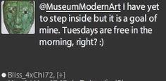 Questions from potential customer of MoMA The Museum of Modern Art ~ customer service on Twitter. #RunwayDigital #SocialMedia