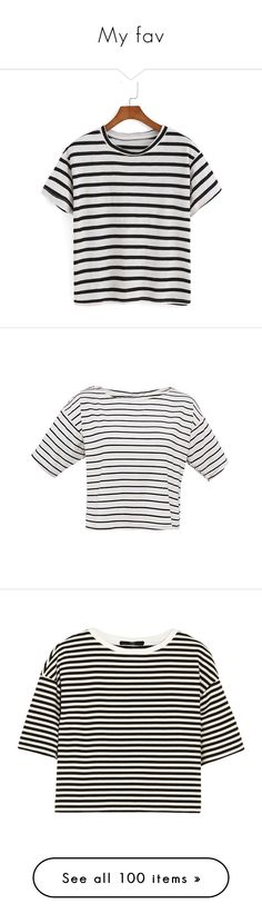 """""""My fav"""" by inge-marie-vaabengaard-pedersen ❤ liked on Polyvore featuring tops, t-shirts, shirts, t shirt, black, striped sleeve shirt, striped shirt, round neck t shirt, short-sleeve shirt and polyester t shirts"""
