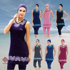 6f8ea40791 AlHamra Paisley Burkini Modest Beachwear Swimsuit Swimwear 3/4 Sleeveless Modest  Swimsuits, Muslim Fashion