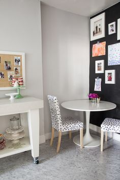 Ikea Bjursta Table for a Eclectic Dining Room with a Dalmation and Philadelphia Penthouse by Caitlin Wilson Design Vinyl Tiles, Vinyl Flooring, Kitchen Flooring, Marble Vinyl, Diy Hacks, Bjursta Table, Eclectic Kitchen, Kitchen Interior, Small Dining