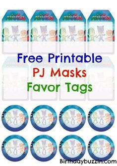 Free Printable PJ Masks Favor Tags| PJ Masks party favors and ideas