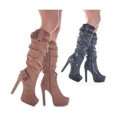 Womens High Heel Black Brown Tan Ladies Knee High Platform B... - Polyvore