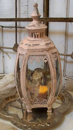 Urban+pink+chic | Shabby chic Victorian style distressed pink display case lantern ...