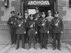 Eight members of the Plainfield Police Pistol Squad pose in front of police headquarters in this photo taken circa 1937. (Courtesy of the Plainfield Public Library) New Jersey