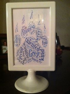 I am making these for my end of the year student gifts.  I created the paw print on tagxedo.com. because it is the symbol for our school.  I listed my student's name and 10 adjectives that describe him/her then printed colored copies and framed them.  Tagxedo is a fun resource for activities and for gifts as well.