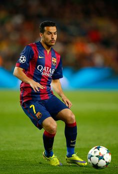 Pedro Rodriguez of Barcelona in action during the UEFA Champions League Quarter Final second leg match between FC Barcelona and Paris Saint-Germain at Camp Nou on April 21, 2015 in Barcelona, Catalonia.