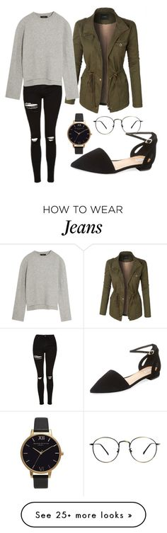 """""""Black Top Shop Jeans"""" by jsnop on Polyvore featuring Elorie, LE3NO, Olivia Burton, Topshop and E L L E R Y"""