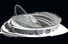 See the award winning Wembley Stadium, reinvented by Foster and Partners architects. The stadium is designed to be ideal for football. Concert Venues, Stadium Architecture, Civil Engineering Design, Building Skin, Foster Partners, Norman Foster, Luxury Homes Dream Houses, Wembley Stadium, Architectural Models