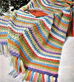 Crochet Blanket Pattern - Rainbow Broomstick Lace