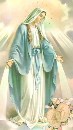 Our Lady of the Miraculous Medal ~ Virgen de la Medalla Milagrosa Mother Mary Images, Images Of Mary, Religious Pictures, Jesus Pictures, Blessed Mother Mary, Blessed Virgin Mary, Catholic Art, Religious Art, Immaculée Conception