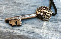 SALE Men's Steampunk Key Necklace Silver by RetroHippieUnlimited