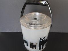 Vintage Culver Acrylic Ice Bucket...Retro Black Cat Design Ice Server... Modern Barware