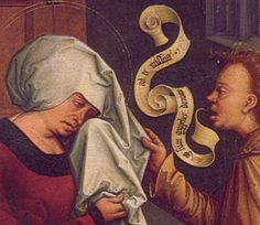 Saint Anne and Angel (detail) - Bernhard Strigel Notice the banderole as the curly thing coming out of his mouth, an early form of the speech balloon. Latest Cartoons, Speech Balloon, Fra Angelico, St Anne, Mesoamerican, The Orator, Painted Boxes, Comic Page, Caricature