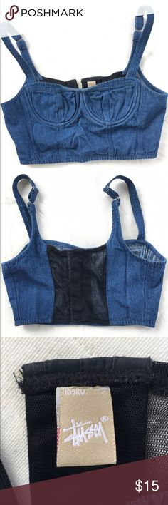 Stussy from urban outfitters denim bustier Stussy from urban outfitters denim bustier, gently used in good pre-owned condition. Urban Outfitters Tops