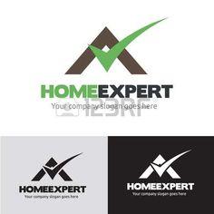 logotipo inmobiliaria: Home expert logo, check logo, real estate logo, home building logo