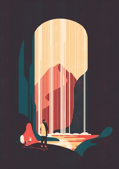 I love the colors of this simple illustration. I also like the way the black of the edges gives the idea that you are in a cave, without really having any hint at it besides the light coming from the opening.