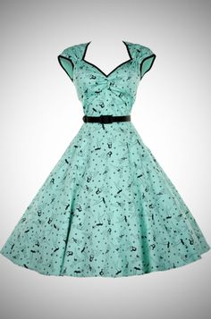 Heidi Mint and black pin up print 50's dress at Deadly is the Female
