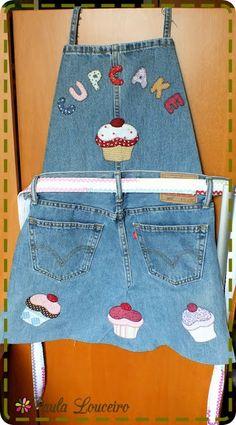Artes de Paula Louceiro: Reciclando jeans - Avental Cupcake