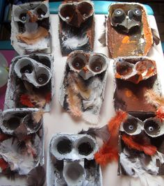 art and soul preschool: Bird Project. Owls using egg cartons, paint, and feathers. Reusing project for earth day.   Link - http://artandsoulpreschool.blogspot.com/search?q=owl