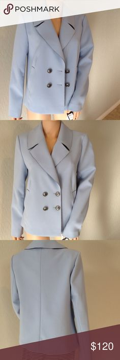 💟50%off NWt. Polyester, Viscose, Spandex. Super cute. Nordstroms. Blue with black buttons. Halogen Jackets & Coats