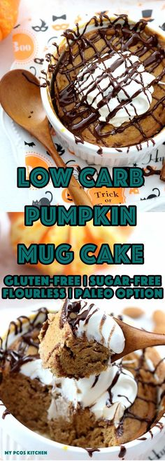 My PCOS Kitchen - Low Carb Pumpkin Mug Cake - A delicious 120 seconds mug cake that is entirely gluten-free, grain-free, and sugar-free! Can also be paleo by using coconut oil! #paleo #dairyfree #keto #lowcarb #lchf #halloween #mugcake #pumpkin #glutenfree #sugarfree via @mypcoskitchen