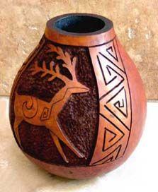 Carved Horse Gourd Art