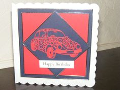 6x6 inch scallop edged red beetle car birthday car - #5325 | Stall & Craft Collective