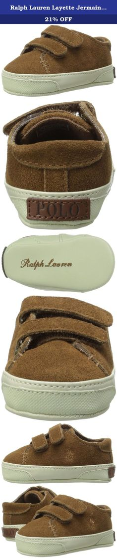 Ralph Lauren Layette Jermaine EZ Athletic Style (Infant/Toddler), Snuff Suede, 3 M US Infant. You can't go wrong with the classic styling of the Jermaine EZ sneaker. Suede leather upper. Dual hook-and-loop closure straps. Embroidered logo on the side. Textile interior with a cushioned footbed. Durable synthetic outsole. Imported. Measurements Weight 1 oz Product measurements were taken using size 3 Infant, width M. Please note that measurements may vary by size.