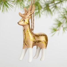 Gold Foil Ceramic Animal Ornaments Set Of 4 - v1