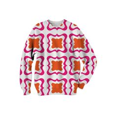 Hot Pink Orange Bold  Bright Trendy Patterned Summer Fashion Sweatshirt from Print All Over Me