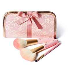 ♔ Pink makeup pouch & brushes