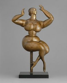 Three Dimensional Art, Gaston Lachaise, Artist, Nude Woman with Upraised Arms, 1926, sculpture, bronze, 19 x 11 1/2 x 6 in. (48.3 x 29.2 x 15.2 cm)