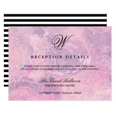 #monogrammed - #Marble Monogram | Purple & Pink Reception Details Card