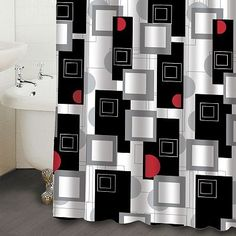 black white red shower curtain. Famous Home Fashions Urban Beat Geometric Fabric Shower Curtain  Grey walls maybe Black White Red Curtains Bathroom Pinterest