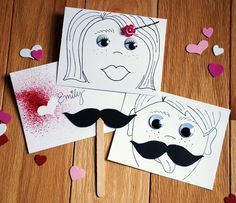 Free Valentine's Day card printable. Add a handmade bobby pin or removable mustache to each card.