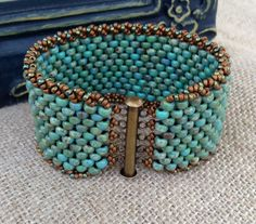 Peyote Stitch Beaded Bracelet Rustic by CountryChicCharms