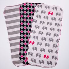 Baby Girl Elephant, Stripes & Quatrefoil Burp Cloth Set of 3 - Burp Cloths with Pink or White Dimple Dot Minky; Burpies by ChristyRaynDesigns on Etsy