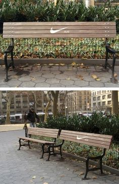 Brilliant Nike bench by ad creatives Anna Echiverri and Annie Chiu. | The 9 Coolest Ever Ads On Benches