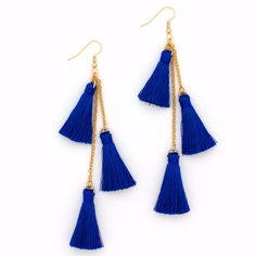 Brilliant blue silk tassels hang from gold plated chains. Silicone backs included. Handmade in Colorado. Diy Earrings Video, Diy Tassel Earrings, Tassel Jewelry, Fabric Jewelry, Simple Earrings, Earrings Handmade, Beaded Jewelry, Jewellery, Handmade Jewelry Designs