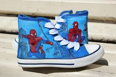 Spiderman hand painted shoes painted keds by MatreshkaHandmade