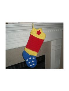 Pattern Only, Wonder Woman Stocking Pattern, Crochet Wonder Woman Pattern, Super Hero Stocking Pattern, Superhero Crochet Pattern Crochet Christmas Stocking Pattern, Crochet Stocking, Crochet Christmas Ornaments, Christmas Crafts, Christmas Patterns, Christmas Ideas, Christmas Decorations, Crochet Home, Crochet Crafts