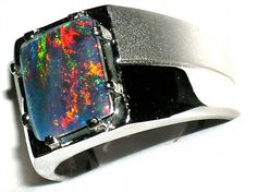 Men's Australian Opal Stainless Steel Ring Hypoallergenic * #117 *  EXCLUSIVE R5 TWO SIZES FAST SHIP