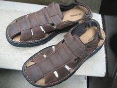 Skechers Used Brown Leather Fishermen Shoes Sandals 12 #SKECHERS #Sandals