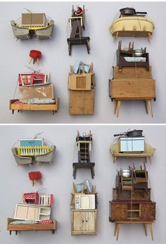 the teeny tiny world of german artist sabine timm. Miniatures as art. Arte Assemblage, Fischli Weiss, Tiny World, Stop Motion, Oeuvre D'art, Artsy Fartsy, Dollhouse Miniatures, Contemporary Art, Illustration Art