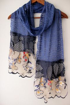 Blue lace scarf extra long scarf cotton lace by Nazcolleccolors