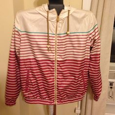 Stripped wind breaker/ rain coat Really cute pink white and turquoise stripes! Only worn once. FEEL LIKE MAKING AN OFFER? Please do so using the offer button as I will no longer negotiate prices in the comments Pull&Bear Jackets & Coats