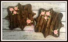 "Wood Grain with Roses Decorated sugar cookies 3"" -1 dozen"