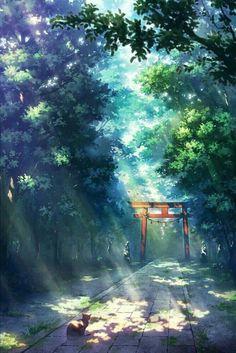 Divine - My Worlds Wonderful whimsical fantasy landscape art Wallpaper Aesthetic, Aesthetic Art, Aesthetic Anime, Aesthetic Pictures, Fantasy Landscape, Landscape Art, Watercolor Landscape, Hotarubi No Mori, Japon Illustration